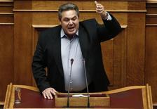 Líder do partido minoritário da coalizão governista, Panos Kammenos, em Atenas.  10/02/2015   REUTERS/ Alkis Konstantinidis