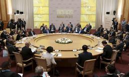 Líderes e representantes dos países que integram os Brics se reúnem em Ufa, na Rússia, nesta quinta-feira. 09/07/2015 REUTERS/Ivan Sekretarev/Pool