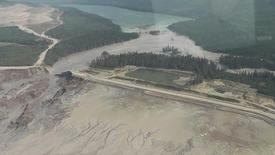 The results of a tailing pond breach  at Imperial Metals Corp's gold and copper mine at Mount Polley in central British Columbia are pictured August 4, 2014  in this still image from aerial handout video provided by Cariboo Regional District. REUTERS/Cariboo Regional District/Handout via Reuters