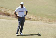 Tiger Woods reacts on the 2nd green in the second round of the 2015 U.S. Open golf tournament at Chambers Bay.  Kyle Terada-USA TODAY Sports
