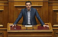 Greek Prime Minister Alexis Tsipras selivers his speech as he attends a parliamentary session in Athens, Greece, July 10, 2015.   REUTERS/Alkis Konstantinidis