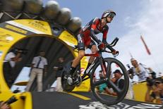BMC Racing rider Tejay van Garderen of the U.S cycles during the 13.8 km (8.57 miles) individual time-trial first stage of the 102nd Tour de France cycling race in Utrecht, Netherlands, July 4, 2015.  REUTERS/Stefano Rellandini