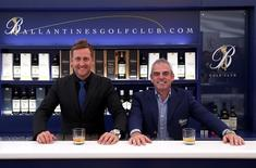 Paul McGinley (R) and Ian Poulterare pictured at the Ballantine's Golf Club Captaincy unveiling at Gullane Golf Club where Paul McGinley took over from Ian Poulter as the new Captain in this undated handout image. Ballantine's Golf Club/HANDOUT