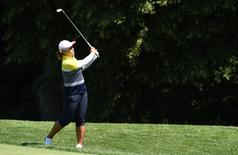 Amy Yang makes a shot from the second fairway during the third round of the 2015 U.S. Women's Open at Lancaster Country Club. Mandatory Credit: Kyle Terada-USA TODAY Sports