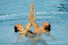 Jacqueline Simoneau and Karine Thomas of Canada compete in the synchronized swimming duets during the 2015 Pan Am Games at Pan Am Aquatics UTS Centre and Field House. Rob Schumacher-USA TODAY Sports