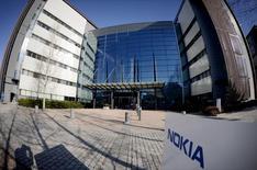 Vista general de las oficinas centrales de Nokia en Espoo, Finlandia, 15 de abril de 2015. La finlandesa Nokia confirmó a última hora del lunes que en 2016 podría empezar a diseñar y a conceder licencias para teléfonos móviles bajo su nombre de marca. REUTERS/Antti Aimo-Koivisto/Lehtikuva