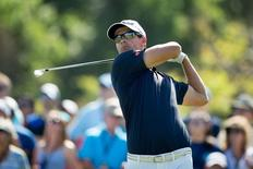 Mar 21, 2015; Orlando, FL, USA; Adam Scott tees off on the 7th during the third round of the Arnold Palmer Invitational presented by MasterCard at Bay Hill Club & Lodge. Kevin Liles-USA TODAY Sports