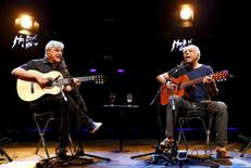 "Brazilian musicians Caetano Veloso (L) and Gilberto Gil perform their ""Two Friends, a Century of Music"" show during the 49th Montreux Jazz Festival in Montreux, Switzerland, July 15, 2015. REUTERS/Denis Balibouse"