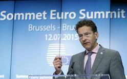 Presidente do Eurogrupo, Jeroen Dijsselbloem, durante entrevista coletiva em Bruxelas, na Bélgica.  13/07/2015   REUTERS/Francois Lenoir