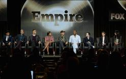 "(L-R) Cast members Bryshere Gray, Jussie Smolett, Trai Byers, Taraji P. Henson, Terrence Howard, directors Lee Daniels and Danny Strong, producers Ilene Chaiken and Francie Calfo from the television series ""Empire"" take part in Fox Broadcasting Company's part of the Television Critics Association (TCA) Winter 2015 presentations in Pasadena, California, January 17, 2015.  REUTERS/Kevork Djansezian"