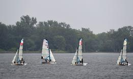 Sailing teams from the United States, Chile and Canada race during the 2015 Pan Am Games at Royal Canadian Yacht Club. Mandatory Credit: John David Mercer-USA TODAY Sports