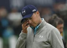 Jordan Spieth of the U.S. wipes his eye on the 18th green after completing his final round of the British Open golf championship on the Old Course in St. Andrews, Scotland, July 20, 2015.          REUTERS/Lee Smith