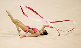 Laura Zeng of the United States competes in the rhythmic gymnastics ribbon final during the 2015 Pan Am Games at Toronto Coliseum. Mandatory Credit: Rob Schumacher-USA TODAY Sports