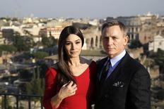 "Actors Daniel Craig (R) and Monica Bellucci pose during a photo call for the new James Bond film ""Spectre"" in downtown Rome, February 18, 2015.   REUTERS/Max Rossi"