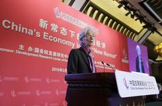 La directora gerente del Fondo Monetario Internacional, Christine Lagarde, da un discurso en Beijing, 22 de marzo de 2015. El Fondo Monetario Internacional (FMI) le expresó a China su preocupación sobre la capacidad de los inversores para entrar o salir de los mercados financieros chinos como quisieran, dijeron fuentes con conocimiento directo del asunto. REUTERS/Jason Lee