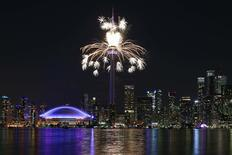 Jul 26, 2015; Toronto, Ontario, CAN; Fireworks shoot out of the CN Tower during the closing ceremony for the 2015 Pan Am Games. Mandatory Credit: Tom Szczerbowski-USA TODAY Sports