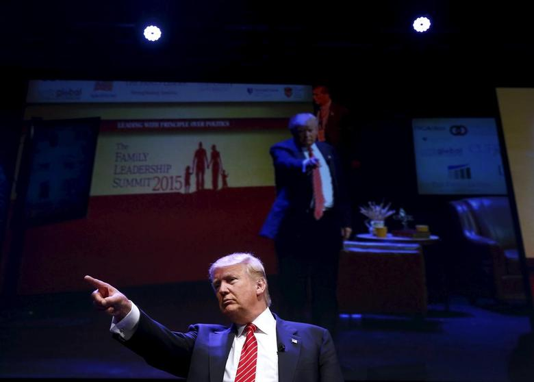 U.S. Republican presidential candidate Donald Trump attends the Family Leadership Summit in Ames, Iowa, United States, July 18, 2015. REUTERS/Jim Young