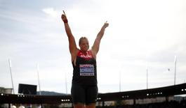 Christina Schwanitz of Germany reacts in the women's shot put final final during the European Athletics Championships at the Letzigrund Stadium in Zurich August 17, 2014.  REUTERS/Phil Noble