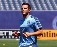Aug 1, 2015; New York, NY, USA; New York City FC  midfielder Frank Lampard (8) warms up prior to the match against the Montreal Impact at Yankee Stadium. Mandatory Credit: Andy Marlin-USA TODAY Sports