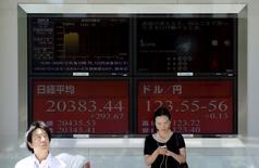 Personas frente a un tablero electrónico que muestra el índice Nikkei y la tasa cambiaria entre el yen japonés y el dólar estadounidense, afuera de una correduría en Tokio, 14 de julio de 2015. Un índice de acciones asiáticas excluyendo a Japón operaba el lunes cerca de sus mínimos de este año luego de una ola de ventas en las materias primas y por las nuevas preocupaciones sobre la desaceleración del crecimiento en China, mientras el dólar operaba estable frente a un canasta de monedas. REUTERS/Toru Hanai