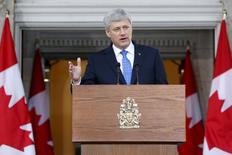 Canada's Prime Minister Stephen Harper takes part in a news conference at Rideau Hall after asking Governor General David Johnston to dissolve Parliament, beginning the longest federal election campaign in recent history, in Ottawa August 2, 2015.    REUTERS/Blair Gable