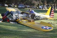 Aeronave com a qual Harrison Ford sofreu acidente em Venice, Los Angeles.  5/3/2015.    REUTERS/Lucy Nicholson