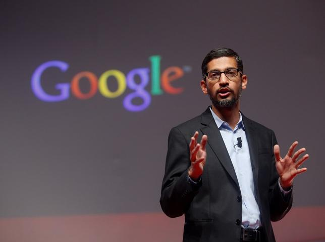 Sundar Pichai, Google's senior vice president of products, speaks during a presentation at the Mobile World Congress in Barcelona March 2, 2015.   REUTERS/Albert Gea