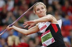 Brianne Theisen-Eaton of Canada competes in the women's Heptathlon Javelin Throw at the 2014 Commonwealth Games in Glasgow, Scotland, in this July 30, 2014 file photo. REUTERS/Suzanne Plunkett/Files
