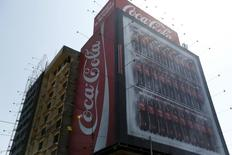 Coca-Cola publicity is seen on a building in downtown Lima, April 7, 2015. REUTERS/Mariana Bazo