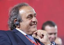 UEFA President Michel Platini smiles before the preliminary draw for the 2018 FIFA World Cup at Konstantin Palace in St. Petersburg, Russia July 25, 2015. REUTERS/Maxim Shemetov