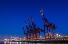 Grúas en el puerto de Hamburgo en una fotografía de archivo de 2014. El crecimiento alemán continuará fuerte en el segundo semestre del año por el aumento del consumo y el incremento de las exportaciones pero el panorama global está empañado por el mayor riesgo de una desaceleración económica grande en China, dijo el lunes el Bundesbank. REUTERS/Fabian Bimmer