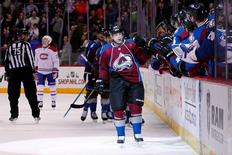 Dec 1, 2014; Denver, CO, USA; Colorado Avalanche center Daniel Briere (48) celebrates with teammates after scoring a goal in the first period against the Montreal Canadiens at Pepsi Center. Mandatory Credit: Isaiah J. Downing-USA TODAY Sports