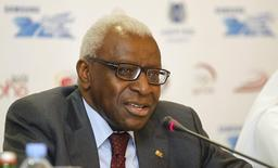 International Association of Athletics Federations (IAAF) President Lamine Diack speaks during a news conference for the Diamond League athletics meet in Doha May 10, 2012. REUTERS/Mohammed Dabbous