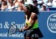Serena Williams (USA) reacts against Ana Ivanovic (not pictured) in the quarterfinals during the Western and Southern Open tennis tournament at the Linder Family Tennis Center. Mandatory Credit: Aaron Doster-USA TODAY Sports