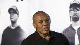 "Producer Dr. Dre arrives at the premiere of ""Straight Outta Compton"" in Los Angeles, California August 10, 2015. The movie opens in the U.S. on August 14.  REUTERS/Mario Anzuoni - RTX1NTZJ"