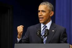 Presidente dos Estados Unidos, Barack Obama, durante cerimônia em Washington. 06/08/2015   REUTERS/Jonathan Ernst