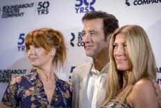 "Cast members Kelly Reilly (L), Clive Owen (C) and Eve Best pose together during a photo call for the Broadway revival of ""Old Times"" at American Airlines Theater in New York, August 26, 2015. REUTERS/Brendan McDermid"