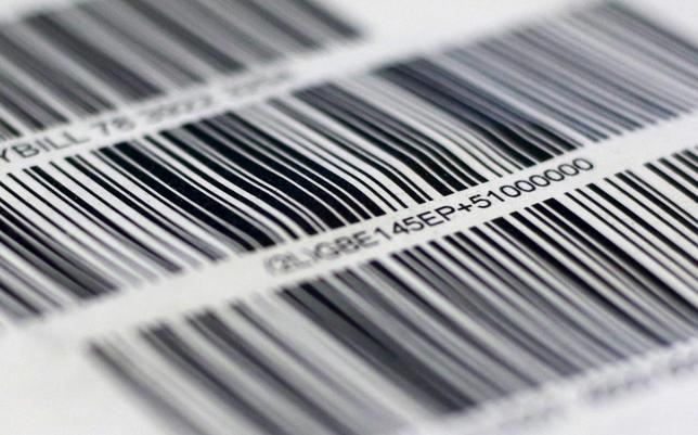 Barcodes are seen on a package in London August 27, 2015. REUTERS/Russell Boyce