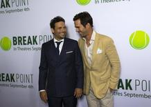"""Cast members Jeremy Sisto (L) and David Walton laugh at the premiere of """"Break Point"""" at Chinese 6 theatres in Hollywood, California August 27, 2015. The movie opens in the U.S. on September 4.  REUTERS/Mario Anzuoni"""