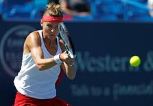 Aug 20, 2015; Cincinnati, OH, USA; Lucie Safarova (CZE) returns a shot against Belinda Bencic (not pictured) on day six during the Western and Southern Open tennis tournament at Linder Family Tennis Center. Aaron Doster-USA TODAY Sports