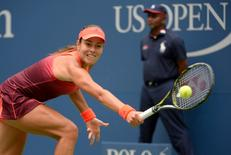 Aug 31, 2015; New York, NY, USA; Ana Ivanovic of Serbia hits to Dominika Cibulkova of Slovakia on day one of the 2015 US Open tennis tournament at USTA Billie Jean King National Tennis Center. Mandatory Credit: Robert Deutsch-USA TODAY Sports