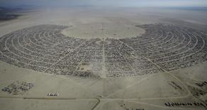 "An aerial view of Burning Man 2015 ""Carnival of Mirrors"" arts and music festival in the Black Rock Desert of Nevada, September 2, 2015. REUTERS/Jim Urquhart"