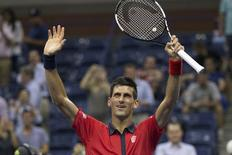 Novak Djokovic of Serbia celebrates after his second round win over Andreas Haider-Maurer of Austria at the U.S. Open Championships tennis tournament in New York, September 2, 2015.  REUTERS/Adrees Latif