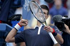 Novak Djokovic of Serbia celebrates after defeating Andreas Seppi of Italy in their third round match at the U.S. Open Championships tennis tournament in New York, September 4, 2015. REUTERS/Eduardo Munoz