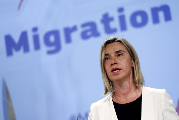 European Union foreign policy chief Federica Mogherini addresses a news conference on the European Agenda on Migration at the EU Commission headquarters in Brussels, Belgium,  May 13, 2015. REUTERS/Francois Lenoir
