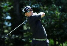 Sep 5, 2015; Norton, MA, USA; Charley Hoffman hits his tee shot on the 9th hole during the second round at the Deutsche Bank TPC of Boston. Mark Konezny-USA TODAY Sports