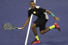 Nick Kyrgios of Australia hits a return to Andy Murray of Britain during their first round match at the U.S. Open Championships tennis tournament in New York, September 1, 2015.     REUTERS/Adrees Latif. Picture Supplied by Action Images