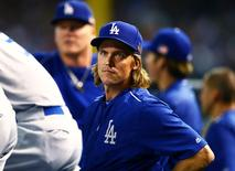 Sep 11, 2015; Phoenix, AZ, USA; Los Angeles Dodgers pitcher Zack Greinke against the Arizona Diamondbacks at Chase Field. Mandatory Credit: Mark J. Rebilas-USA TODAY Sports