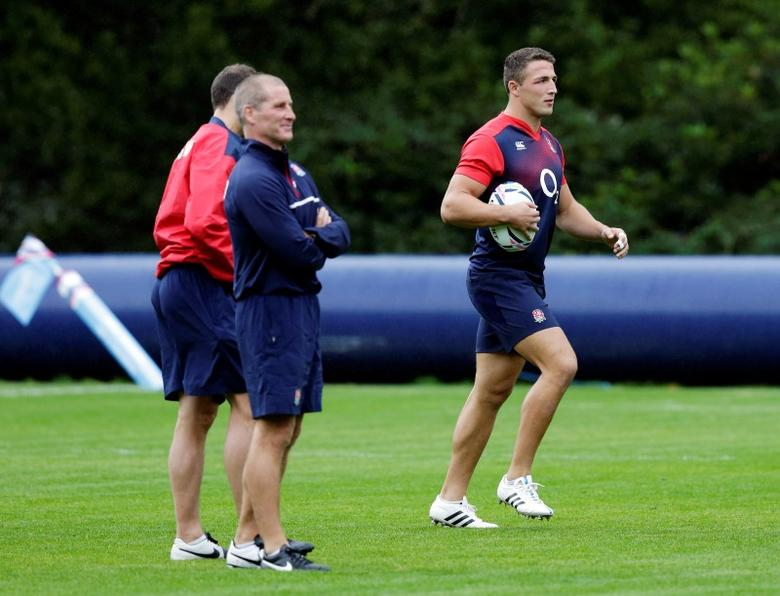 Rugby Union - England Training - Pennyhill Park, Bagshot, Surrey - 14/9/15England's Sam Burgess with head coach Stuart Lancaster during trainingAction Images via Reuters / Henry BrowneLivepicEDITORIAL USE ONLY.