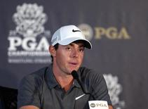 Aug 12, 2015; Sheboygan, WI, USA; Rory McIlroy speaks at a press conference during a practice round for the 2015 PGA Championship golf tournament at Whistling Straits -The Straits Course. Mandatory Credit: Jerry Lai-USA TODAY Sports